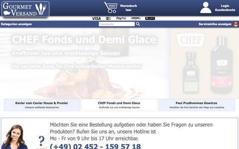 Screenshot of Home Page gourmet-versand.com - GOURMET VERSAND | Lebensmittel und Feinkost online kaufen - captured Oct. 30, 2018