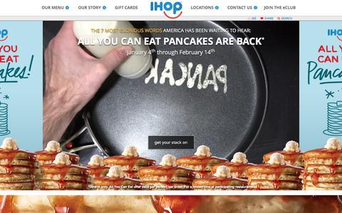 Screenshot of Home Page ihop.com - Welcome to IHOP - captured Jan. 4, 2016