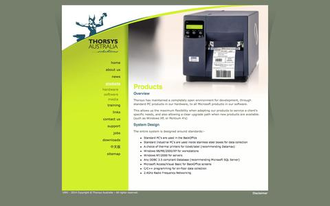 Screenshot of Products Page thorsys.com.au - Thorsys Australia | Products | - captured Oct. 7, 2014