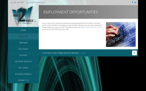 Screenshot of Jobs Page voice2voice.co.uk - Employment Opportunities | Voice 2 Voice - captured Oct. 9, 2014