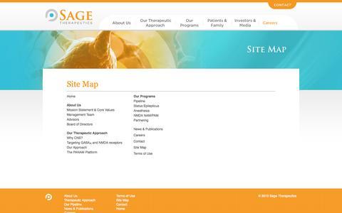 Screenshot of Site Map Page sagerx.com - Sitemap - Sage Therapeutics - captured Sept. 17, 2014