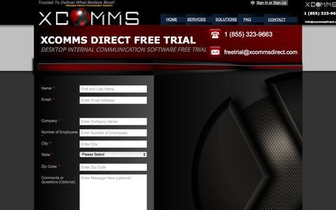 Screenshot of Trial Page xcommsdirect.com - Desktop Alert Software Free Trial - DIRECT TO SCREEN DESKTOP ALERT SOFTWARE : INTERNAL MESSAGING COMMUNICATION TOOLS - EMPLOYEE DESKTOP ALERTS, SCROLLING TICKER ALERT, Send internal message alert directly to computer screen. - captured Dec. 19, 2015
