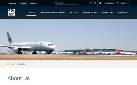Screenshot of About Page bne.com.au - About Us   Brisbane Airport - captured Nov. 7, 2018