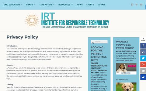 Screenshot of Privacy Page responsibletechnology.org - Privacy Policy - Institute for Responsible Technology - captured Dec. 12, 2018
