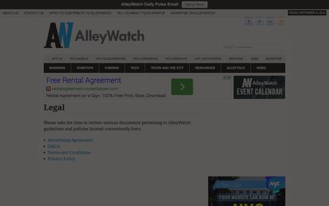Screenshot of Terms Page alleywatch.com - Legal - AlleyWatch - captured Sept. 13, 2014