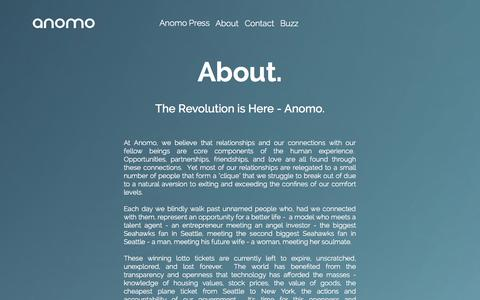 Screenshot of About Page anomo.com - About - captured Nov. 5, 2014