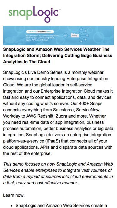 SnapLogic Demo Series: How SnapLogic and Amazon Web Services Weather The Integration Storm