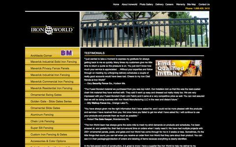 Screenshot of Testimonials Page ironworldfencing.com - Fencing Client Testimonials - Iron World Manufacturing, LLC - captured Nov. 3, 2014