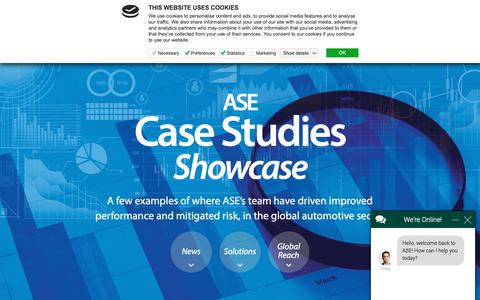 Screenshot of Case Studies Page ase-global.com - Kraig says... - captured Oct. 2, 2018