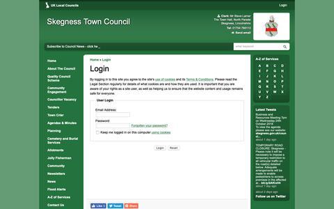 Screenshot of Login Page skegness.gov.uk - Login   Skegness Town Council - captured Oct. 18, 2018