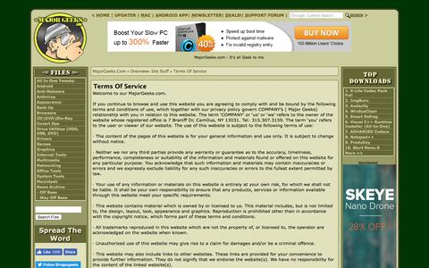 Screenshot of Terms Page majorgeeks.com - Terms Of Service - MajorGeeks - captured June 20, 2017