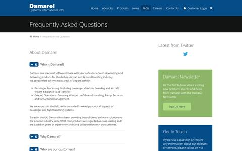 Screenshot of FAQ Page damarel.com - Frequently Asked Questions | Damarel Systems - captured Oct. 5, 2014