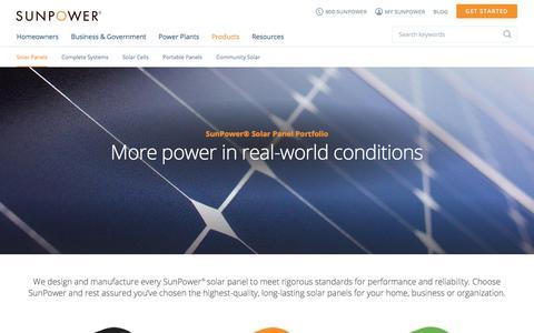 Screenshot of Products Page sunpower.com - Solar Panels | SunPower - captured Jan. 19, 2018