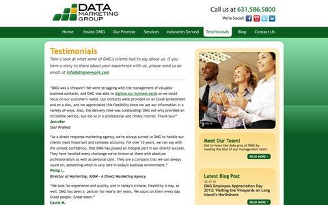 Screenshot of Testimonials Page dmgltd.org - Testimonials - Expert Data Managment, Order Fulfillment, Email Services - Long Island, New York - captured Nov. 5, 2014