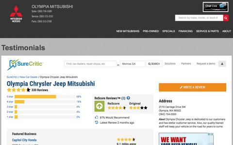 Screenshot of Testimonials Page olympiamitsubishi.com - Customer Reviews of Olympia Mitsubishi | Olympia, WA Car Dealer - captured March 28, 2016