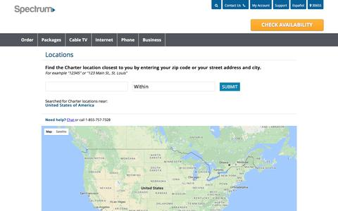 Screenshot of Locations Page charter.com - Charter Spectrum Store Locations - captured March 17, 2017