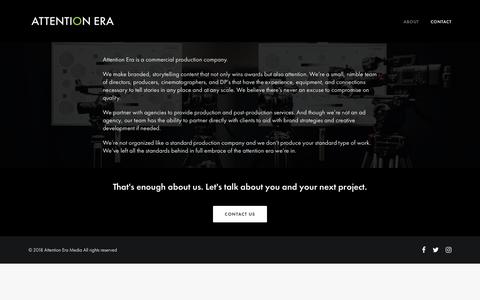 Screenshot of About Page attentionera.com - About – Attention Era Media - captured Oct. 4, 2018