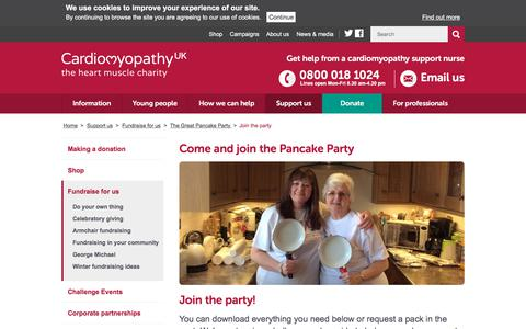 Screenshot of Signup Page cardiomyopathy.org - Join the party  - Cardiomyopathy UK - captured Feb. 19, 2018