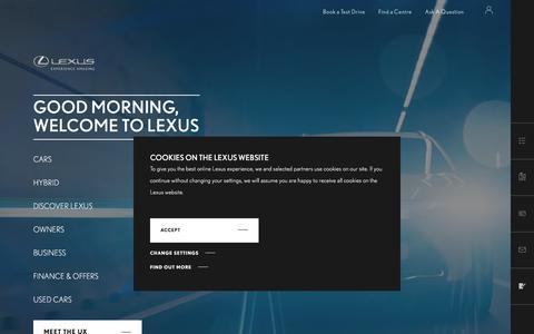 Screenshot of Home Page lexus.co.uk - Luxury and Hybrid Cars | Lexus UK - captured July 1, 2019