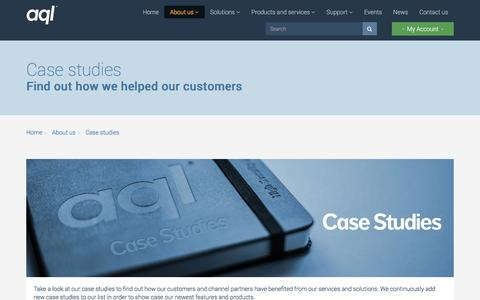 Screenshot of Case Studies Page aql.com - Case studies - captured Nov. 21, 2016