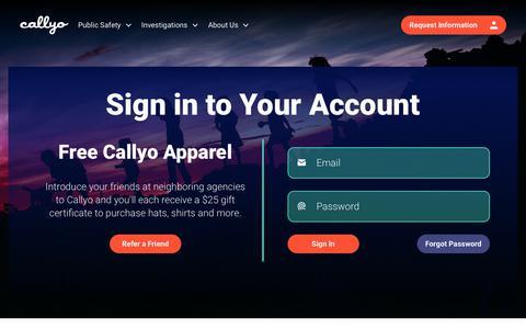 Screenshot of Login Page callyo.com - Sign In - Callyo - captured Feb. 21, 2020