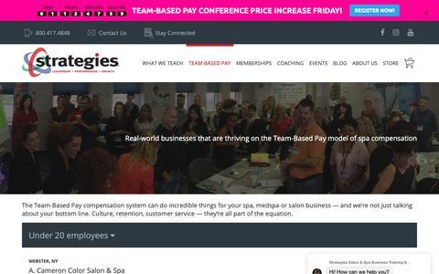 Screenshot of Case Studies Page strategies.com - Team-Based Pay Case Studies for Salons, Spas & Medspas - captured April 24, 2019
