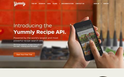 Screenshot of Developers Page yummly.com - Yummly | Recipe API & Food API - captured Sept. 17, 2014