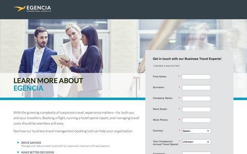 Screenshot of Landing Page egencia.com - Contact Us - Egencia Singapore - captured Nov. 25, 2016