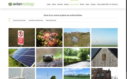 Screenshot of Case Studies Page avianecology.co.uk - Case Studies | Avian Ecology - captured Oct. 9, 2017