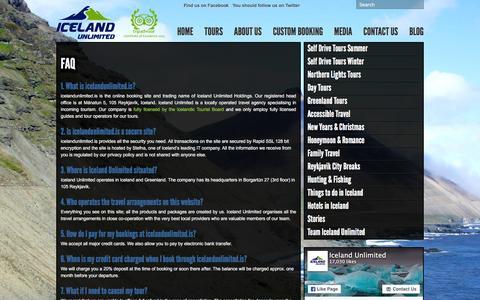 Screenshot of FAQ Page icelandunlimited.is - FAQ - Iceland Unlimited Iceland Unlimited - captured Feb. 10, 2016