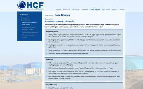 Screenshot of Case Studies Page hcfintl.com - Mongolian copper gold mine project | HCF International Advisers - captured Oct. 1, 2014