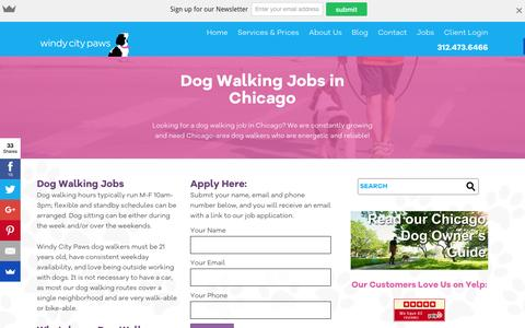 Screenshot of Jobs Page windycitypaws.com - Dog Walking Jobs, Chicago, IL - Windy City Paws - captured Feb. 14, 2016