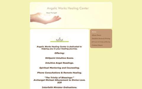 Screenshot of Home Page angelicworkshealingcenter.com - Angelic Works Healing Center  - Home - captured July 29, 2018