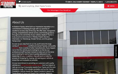 Screenshot of About Page stadiumtoyota.com - Toyota and Used Car Dealer Tampa | Stadium Toyota - captured Dec. 6, 2016