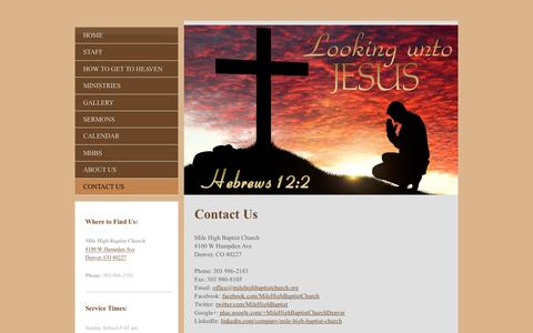 Screenshot of Contact Page milehighbaptistchurch.org - Mile High Baptist Church † Denver, CO - Looking unto Jesus - Contact Us - captured Dec. 20, 2016