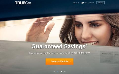 Screenshot of Home Page truecar.com - TrueCar - captured July 12, 2014