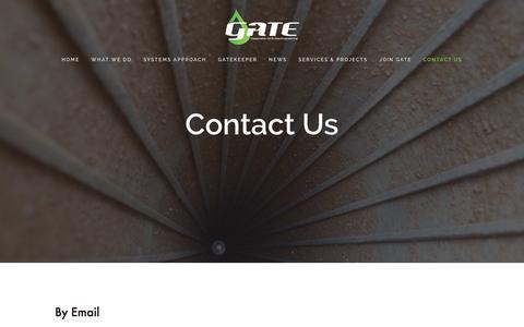 Screenshot of Contact Page gateinc.com - Contact Us — GATE, Inc. - captured Jan. 28, 2016