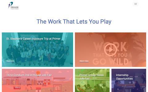 Screenshot of Jobs Page primergrp.com - Careers | Primer Group of Companies - captured Sept. 29, 2018
