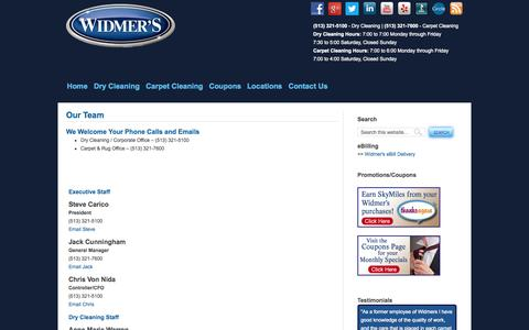 Screenshot of Team Page widmerscleaners.com - Our Team - captured Oct. 26, 2014