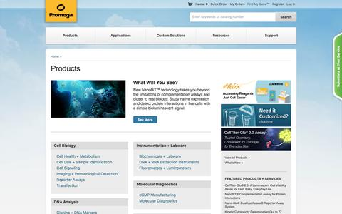 Screenshot of Products Page promega.com - Products - captured July 18, 2016