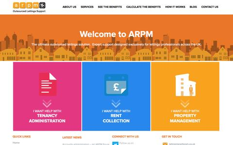 Screenshot of Home Page arpm.co.uk - ARPM - Outsourced Lettings Support - captured Oct. 4, 2014