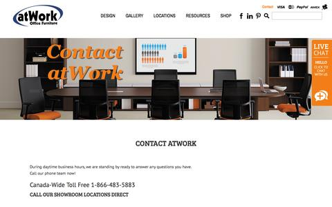 Screenshot of Contact Page atwork.ca - Contact atWork - atWork Office Furniture - captured Feb. 7, 2016