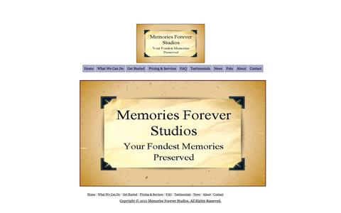 Screenshot of Home Page memories-forever-studios.com - Memories Forever Studios: Your Fondest Memories Preserved - captured Sept. 3, 2015