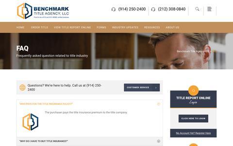 Screenshot of FAQ Page benchmarkta.com - FAQ - Benchmark Title Agency LLC - captured Oct. 5, 2018