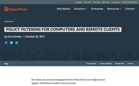 Screenshot of Privacy Page beyondtrust.com - Policy Filtering for Computers and Remote Clients | BeyondTrust - captured Dec. 14, 2019