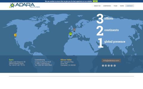 Screenshot of Contact Page adaravp.com - CONTACT | Adara Ventures - captured Sept. 19, 2014