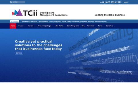 Screenshot of Home Page tcii.co.uk - Profitable Business Growth | Sustainable Growth | Strategic Advice | TCii London - captured Nov. 16, 2017
