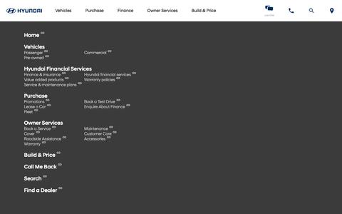 Screenshot of Site Map Page hyundai.co.za - Hyundai South Africa | Cars, Sedans, SUVs, and Compacts - captured July 6, 2018