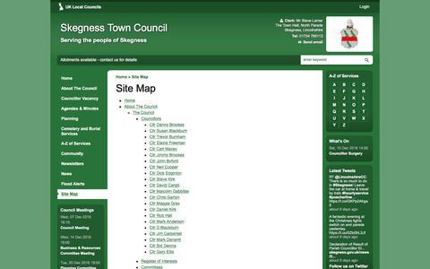 Screenshot of Site Map Page skegness.gov.uk - Site Map | Skegness Town Council - captured Dec. 1, 2016