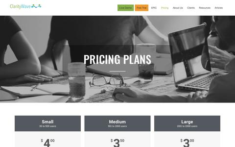 Screenshot of Pricing Page claritywave.com - EPIC Pricing • Clarity Wave - captured July 18, 2018